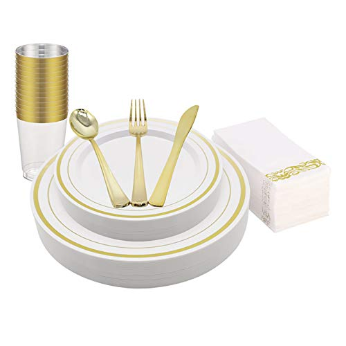 KAPATI - Vajilla de plástico desechable, color dorado, 25 platos, 25 platos de ensalada, 25 cucharas, 25 tenedores, 25 cuchillos, 25 tazas, 25 servilletas de lino para bodas,...