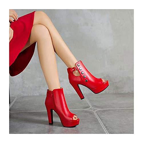 XIANWFBJ Damen High Heels, Neue Sandalen Mit Offenem Zehenfischmaul, Plateausandalen Mit Hohen Absätzen, Reißverschluss Hinten (Nr. 33-50),Rot,45