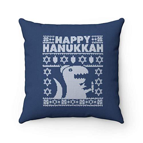 N\A Feliz Hanukkah Christmas Throw Pillow Cover Funda de Almohada del día judío Funda de Almohada Cuadrada Decorativa Festival de Luces Funda de cojín Regalo