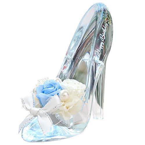 プリザーブドフラワー IPFA ガラスの靴 シンデレラ [バースデーモデル ギフト] 誕生日プレゼント/バラ/花/女性/記念日/フラワーギフト (ブルー)