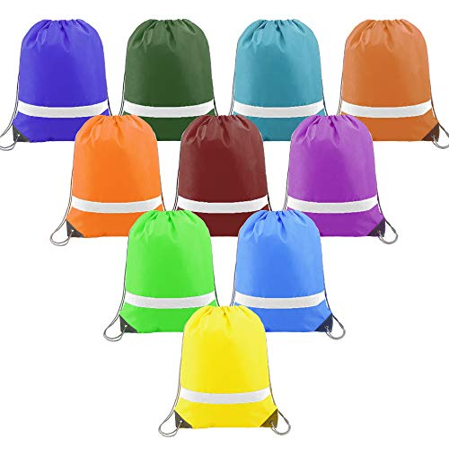 Drawstring Backpack Bags Reflective Bulk for Kids 10 Pack, Promotional Sports Gym Sack Cinch Bags String Backpacks for Party