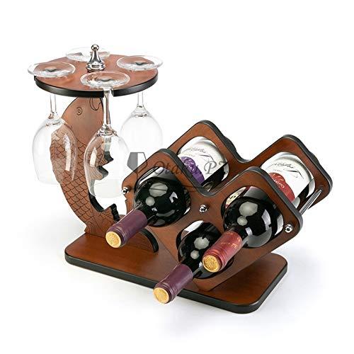Botellero de Vino Estante de vino, 1 piezas de troncos de vino tinto Estante de vino rojo sólido Rack de vino creativo conjunto de vinos tintos (sin botellas y tazas) para cocina, comedor, bar, cocina