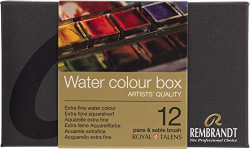 Rembrandt Water Colour Box - Caja de acuarelas extrafina, caja de metal con 12 recipientes y pincel