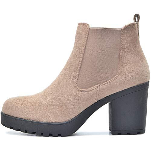 FLY 4 Chelsea Boots Plateau Stiefeletten in vielen Farben und Mustern (Nude Samt Zip, Numeric_39)