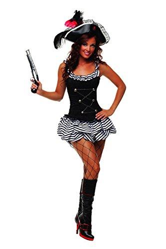 Starline Women's Fiery Pirate Sexy Corset Costume Dress Set - black - S