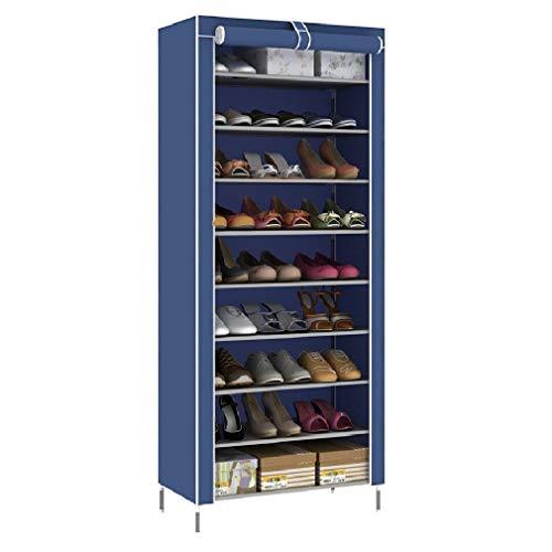 Zapatero de Tela de 10 Niveles con Tapa Antipolvo, Organizador Zapatos Estantería, Zapatero,Organizador para Zapatos con Capacidad para 30 Pares de Zapatos, 60 x 30 x 160 cm, Azul Oscuro