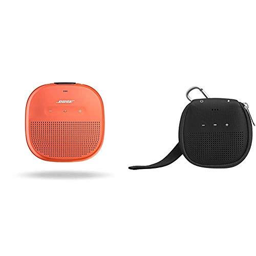 Bose SoundLink Diffusore Micro Bluetooth, Arancione Brillante & Amazon Basics - Custodia per altoparlante Bluetooth Bose SoundLink Micro, con supporto, colore: nero
