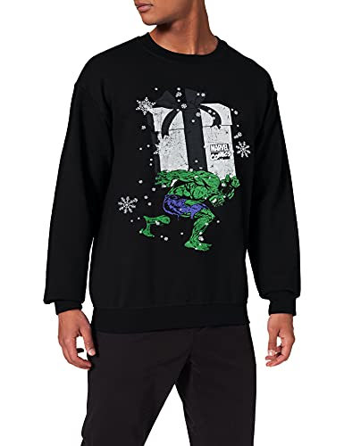 Brands In Limited Christmas Hulk Sweat-Shirt, Noir (Black), (Taille Fabricant: Large) Homme