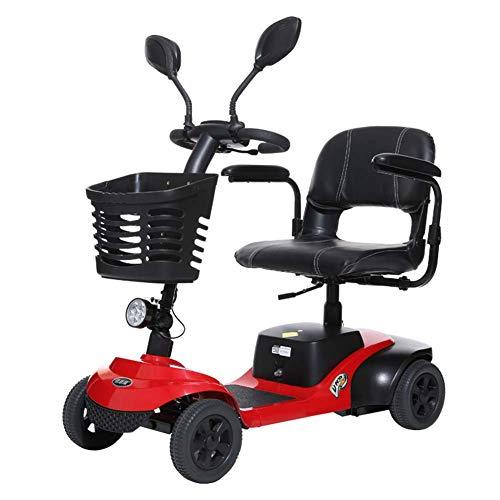 Elektro-Rollstuhl, Modern Schwarz Rot Intelligent Durable Behinderte ältere Falten Freie elektrische Komfortabler vierrädrigen Elektro-Rollstuhl 42cm Breite Sitz