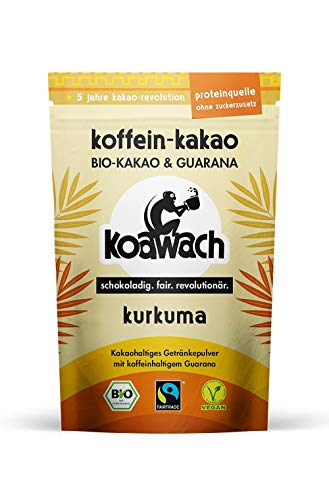 koawach Kurkuma Kakaopulver mit Koffein aus Guarana Koffein Kakao, ohne Zuckerzusatz - Bio, vegan und Fair Trade 500g