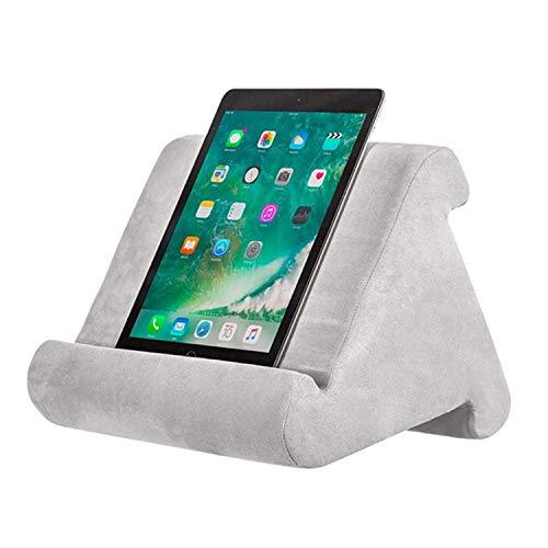 Ständer für Tablets Tablethalter Handy Halterung Tabletständer Kissen-Ständer Buchständer Leseständer für Pad, Tablets, E-Reader und Handys,Frostschutz und Langlebig Grau