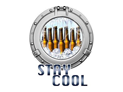 GRAZDesign Küchendeko Dekorfolie Stay Cool Spruch, Kühlschrankaufkleber für Männer WG, Wandtattoo Küche Bullauge mit Bier / 63x50cm