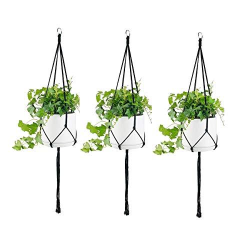 Belit 3 Pack 4 Legs Macrame Plant Hanger, Simple Design Indoor Outdoor Plant Pot Hangers for Home...