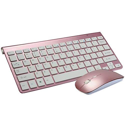 Kabellose Tastaturmaus, 2,4 G ultradünne kabellose Maus und Tastatur Mini-Multimedia-Tastaturmaus-Combo-Set für Notebooks, Laptops, Macs, Desktop-PCs, TV-Bürobedarf,Rosegold