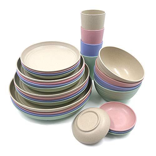 Juego de vajilla de paja de trigo, 28 piezas, platos ligeros, tazas, salsas, vajilla irrompible, para picnic, fiesta, barbacoa, camping (28 piezas)