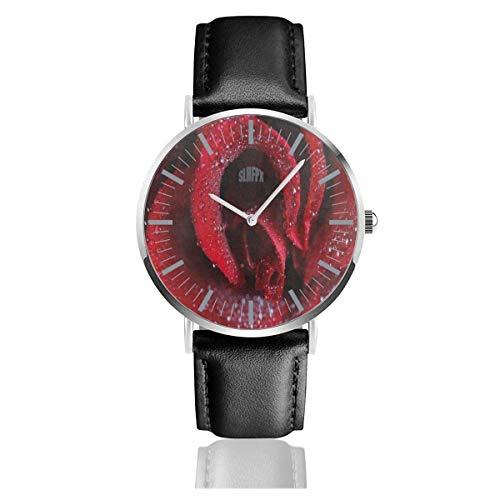 Reloj Hipster Rose Flower Raindrop Valentine 'S Day Relojes de Pulsera increíbles Cuarzo Acero Inoxidable y Cuero de la PU para Unisex
