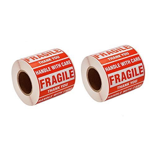 SJPACK 1000 Fragile Stickers 2 Rolls 2'' x 3'' Fragile - Handle with Care - Thank You Shipping Labels Stickers (500 Labels / Roll)