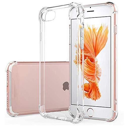 Hually Fodral till iPhone 7, iPhone 8 fodral, iPhone SE 2020 fodral, kristallklar stötdämpande skyddskåpa, transparent mjuk silikon TPU gel stötfångare premium skyddsfodral för iPhone 7/8/SE 2020
