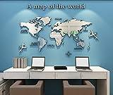 Pegatinas de Pared 3D DIY Mapa del Mundo Vinilos Pegatina Pared Murales Stickers Mapa Adhesivo Decorativo de Pared para Salón, Dormitorio, Oficina, Habitación, Hogar(B Plata,XXL)