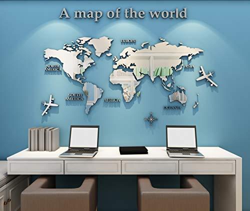 Adesivo da Parete Mappa Del Mondo 3D Rimovibile Mappa Adesivi Murali Fai da te Arts Wall Sticker Decorativi per Soggiorno, TV Par, Camera da Letto, Asili Nido, Ufficio, Bambini Stanze (Argento,M)