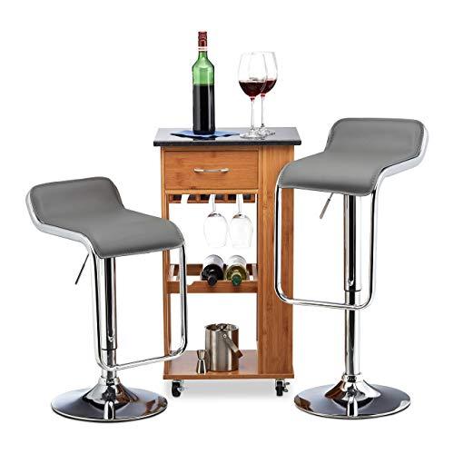 Relaxdays Barkruk 2-delige set, in hoogte verstelbaar, draaibaar, tot 120 kg, kunstleer, metaal, HxBxD: 90 x 39 x 39 cm, grijs