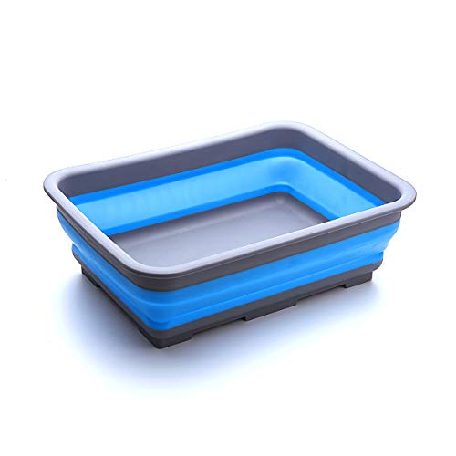 Collapsible Wash Basin Multiuse Dish Pans Space Saving Portable Dish Tub with 10L Capacity for Camping Outdoor Kitchen Storage by THANSTAR Blue