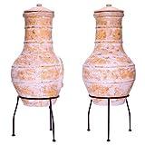 Nexos Terrassenofen Gartenkamin Terracotta 85 cm Gartenofen Stahlgestell Feueröffnung20x15 cm Schlotöffnung 26x15 cm robust 19,5 kg Grillkamin - 4