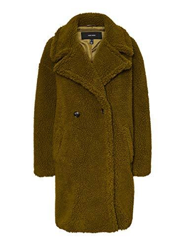 Vero Moda VMLYNNE 3/4 Teddy Jacket KI Abrigo, Color verde, L para Mujer