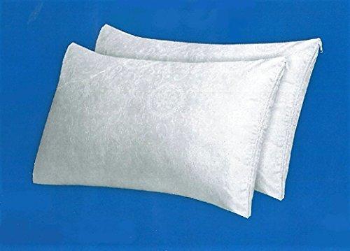 NEW'C Fodere Copriguanciale-Copricuscini Coppia Federe Salva Cuscino Bianche in Cotone Damasco cm 50x80 con Zip