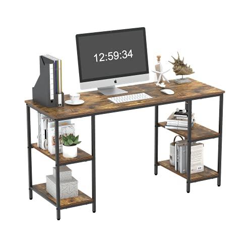 Amazon Brand-Umi Desk, escritorio para computadora, con 4 estantes en ambos lados, para oficina, dormitorio, sala de estar, 140x50x76 cm