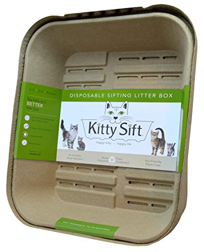 Kitty Sift Disposable Sifting Litter Box and Liner, Jumbo Starter Set, 17.25 x 20.5 x 10 inches, 3 Sifting Trays, 1 Base Tray and High Shield Lid