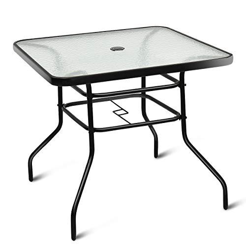 GIANTEX Couchtisch rechteckig Metall Glastisch mit Glasplatte Terrassentisch Kaffeetisch Gartentisch Balkontisch Wohnzimmertisch Sofatisch Tischchen mit Schirmloch für Balkon Terrasse Garten