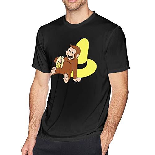 Fomente Curious George Herren Komfortabel T Shirt Black M