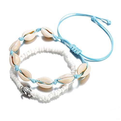 Crintiff – Dos pulseras de conchas con cordón de algodón encerado azul...