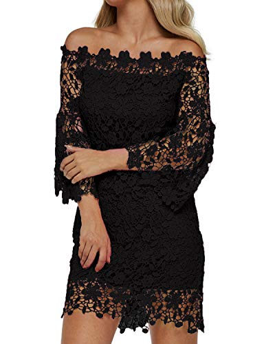 Auxo Women Off Shoulder Floral Lace Dress Vintage Crochet Bodycon Flared Sleeve Midi Party Cocktail Dressess Black XL