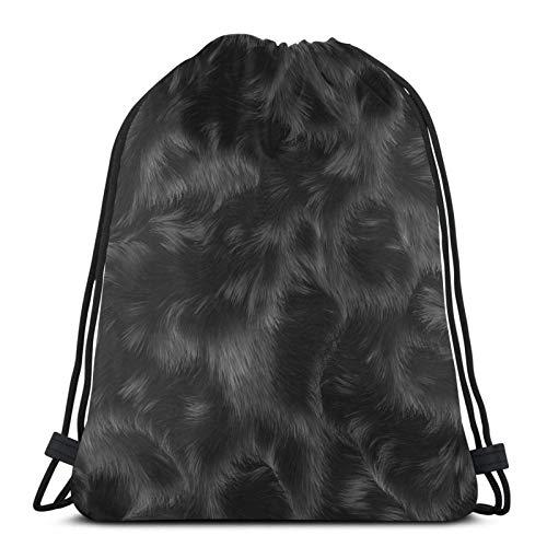 Lmtt Mochila con cordón Mochila deportiva Mochila de viaje Bolsa de viaje Estampado de piel de animal negro