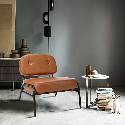 ERGOREAL Midcentury Retro Accent Chair PU Leather Upholstered Armless Side Chair Leisure Padded Cushion Reception Guest Chairs No-Slip Black Metal Frame-Brown