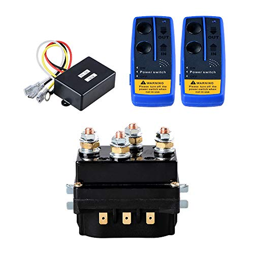 12V 500A Recovery Winch Solenoid HD Contactor Relay and Twin Wireless Remote Control for 8000lbs 12000lbs Rope Line Cable