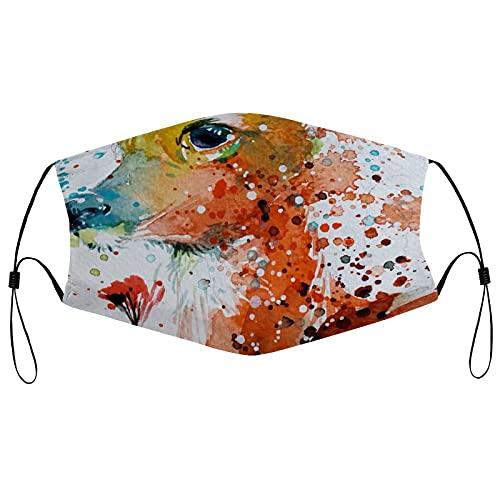 best& Acuarela Fawn - Pañuelo para rostro con estampado de adultos, lavable, reutilizable, transpirable, a prueba de polvo, protector facial para mujeres y hombres