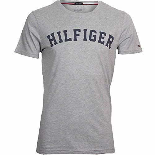 Tommy Hilfiger Logo Camiseta de Cuello Redondo,Perfecta para El Tiempo Libre, Gris (Grey Heather), M para Hombre