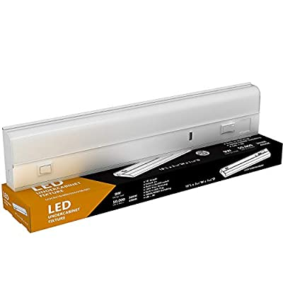 "LED Under Cabinet Lighting - USB Charger, 9 Watt, 18"" Inch, 3000K or 4000K Switchable, CRI>90, Metal Hard Wired Light, 18in"