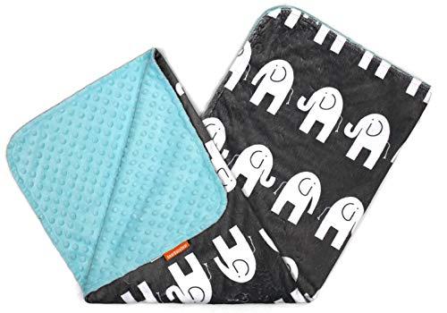 Dear Baby Gear Deluxe - Manta para bebé, diseño de Elefantes, Color Gris, BB Elefantes Blancos, Ópalo Azul Minky Dot, Baby Blanket