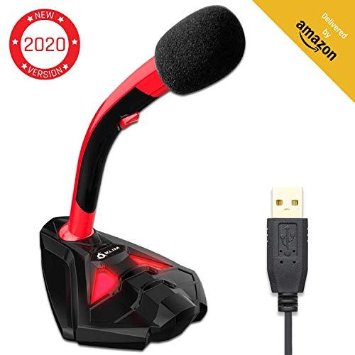 KLIM™ Voice Micrófono USB con Base para Ordenador - Micro de Escritorio, Micrófono para Jugadores - Rojo y Negro -Nueva Versión 2020