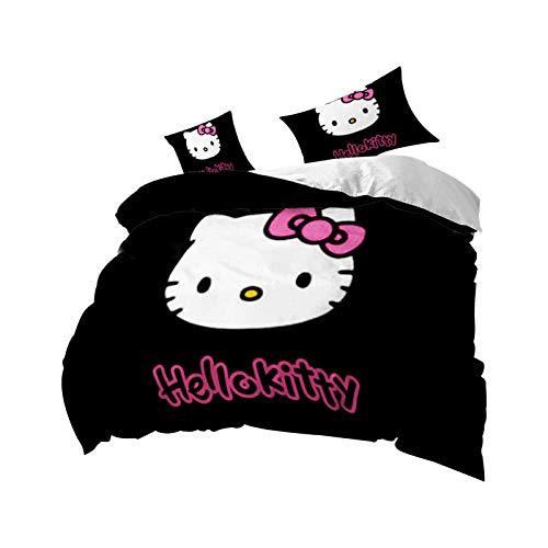 Fgolphd Hello Kitty - Juego de funda de edredón y fundas de almohada (135 x 200 cm, 15 piezas),...