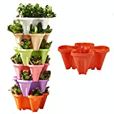 TMIL Maceta de jardín apilable, Torre de Jardinera Vertical de Fresa de 6 Niveles, Sistema de contenedor apilable de 4 pétalos para Cultivar Verduras, Tomate, Pimiento, Pepino, Hierbas,Rojo