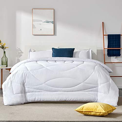 SLEEP ZONE All Season Comforter Down Alternative Soft Temperature Regulation Reversible Duvet, White, Twin