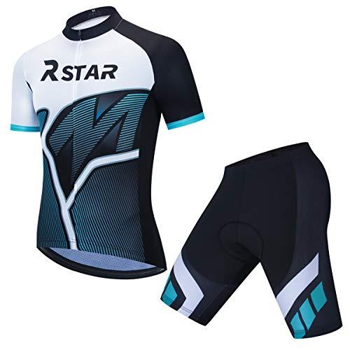 Herren Radtrikot Set Blau und weiß Schnelltrocknend Kurzarm Jersey Shorts mit Gel gepolstert für Reiten Rennradkleidung (XL)
