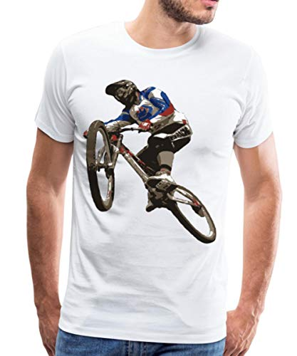 Downhiller Mountainbike Downhill Fahrrad Männer Premium T-Shirt, L, Weiß