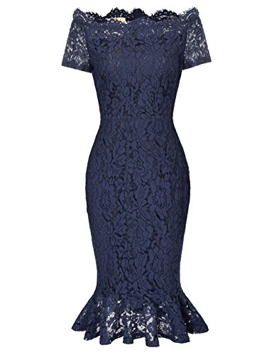 Women Short Sleeve Off Shoulder Mermaid Lace Bodycon Dress M Navy Blue