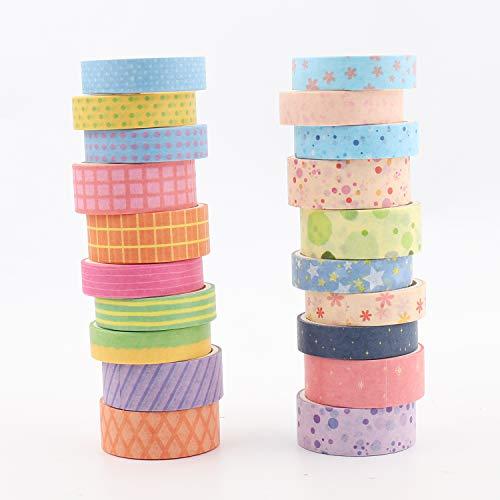 Washi Tape 20 Rotoli Nastri Colorati Carta Adesiva Tape Decorativo Coprente Nastri Colorati Washi Tape Set per...